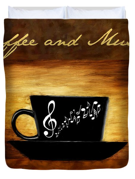 Coffee And Music Duvet Cover by Lourry Legarde
