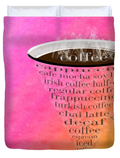 Coffee Cup The Jetsons Sorbet Duvet Cover by Andee Design