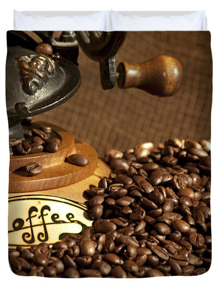 Coffee Grinder With Beans Duvet Cover by Gunter Nezhoda