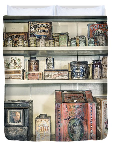 Coffee Tobacco And Spice - On The Shelves At A 19th Century General Store Duvet Cover by Gary Heller