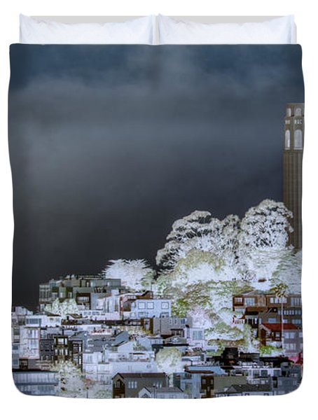 Coit Tower Surreal Duvet Cover by Agrofilms Photography