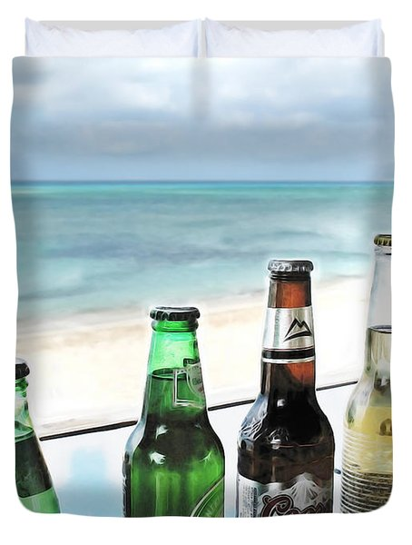 Cold Beers in Paradise Duvet Cover by Joan  Minchak