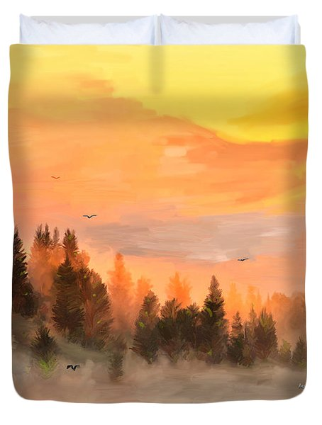 Cold Foggy Spring Morning Duvet Cover by Angela A Stanton