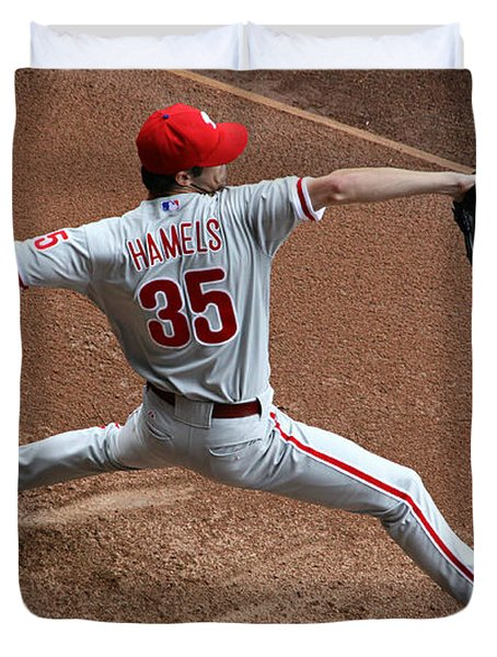 Cole Hamels - Pregame Warmup Duvet Cover by Stephen Stookey