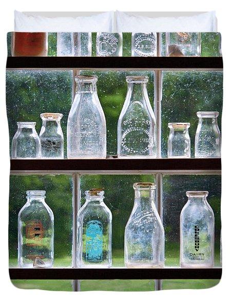 Collector - Bottles - Milk Bottles  Duvet Cover by Mike Savad
