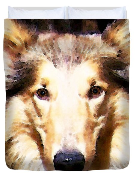 Collie Dog Art - Sunshine Duvet Cover by Sharon Cummings