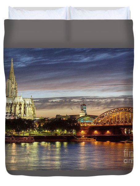 Cologne Cathedral With Rhine Riverside Duvet Cover by Heiko Koehrer-Wagner