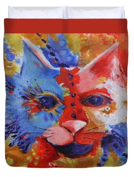 Color Cat Duvet Cover by Deb Harvey