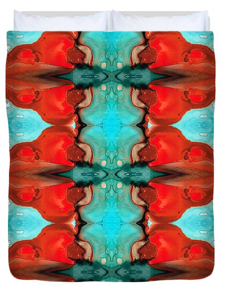 Color Chant - Red and Aqua Pattern Art By Sharon Cummings Duvet Cover by Sharon Cummings