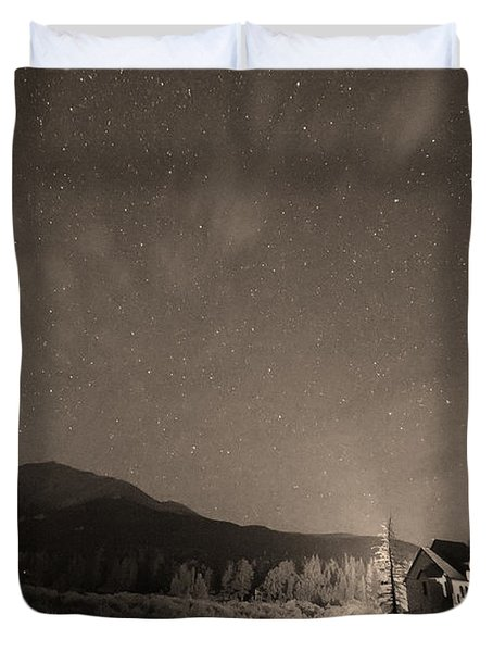 Colorado Chapel On The Rock Dreamy Night Sepia Sky Duvet Cover by James BO  Insogna