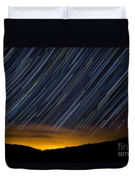 Colorado Mountain Startrails Duvet Cover by Benjamin Reed