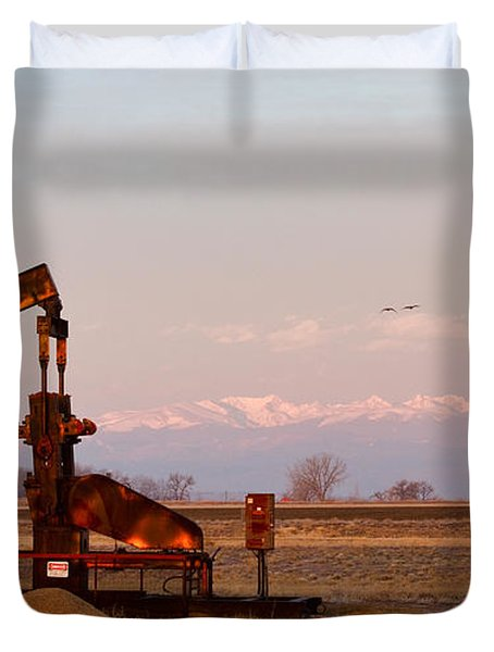 Colorado Oil Well Panorama Duvet Cover by James BO  Insogna