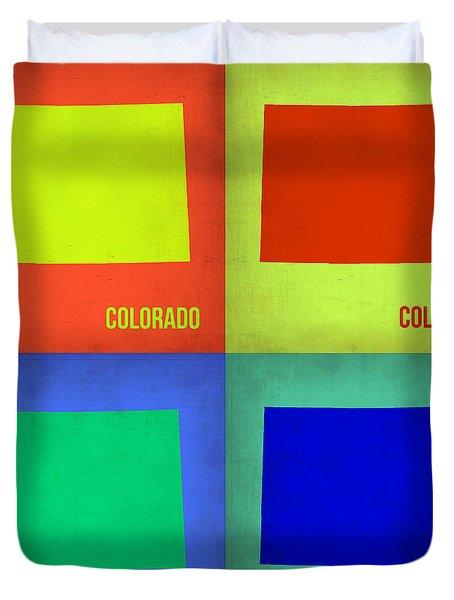 Colorado Pop Art Map 2 Duvet Cover by Naxart Studio