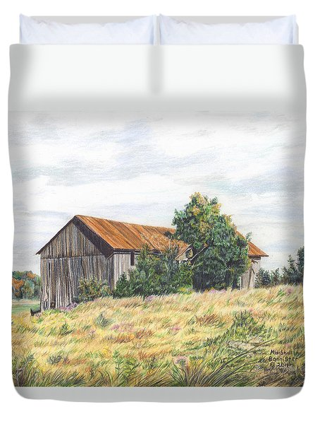 Colored Pencil Barn Duvet Cover by Marshall Bannister
