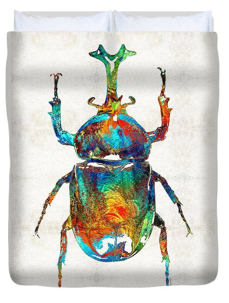 Colorful Beetle Art - Scarab Beauty - By Sharon Cummings Duvet Cover by Sharon Cummings