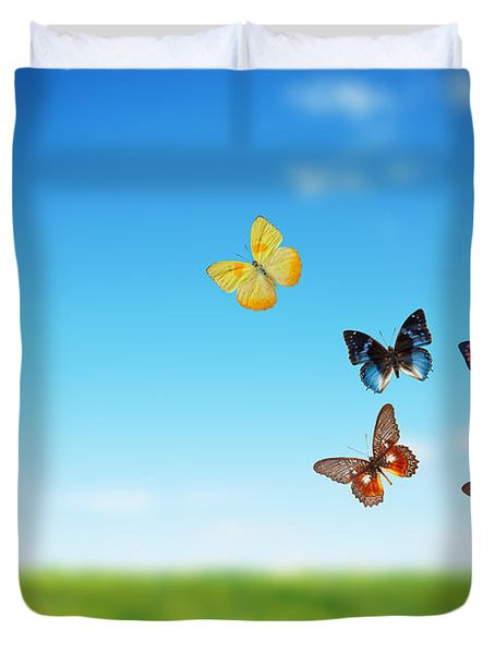 Colorful Buttefly Spring Field Duvet Cover by Michal Bednarek