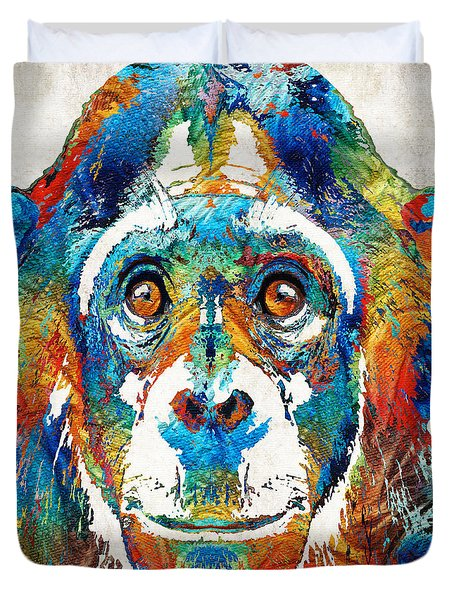 Colorful Chimp Art - Monkey Business - By Sharon Cummings Duvet Cover by Sharon Cummings
