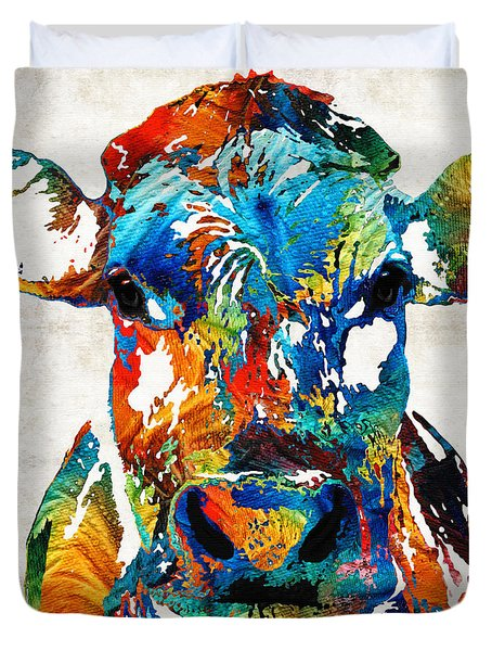 Colorful Cow Art - Mootown - By Sharon Cummings Duvet Cover by Sharon Cummings