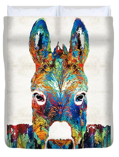 Colorful Donkey Art - Mr. Personality - By Sharon Cummings Duvet Cover by Sharon Cummings