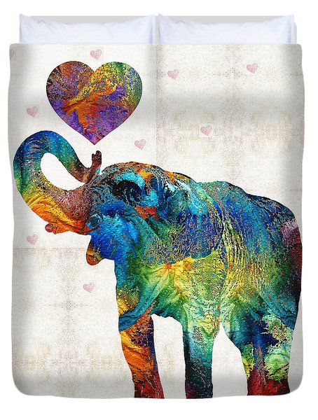 Colorful Elephant Art - Elovephant - By Sharon Cummings Duvet Cover by Sharon Cummings