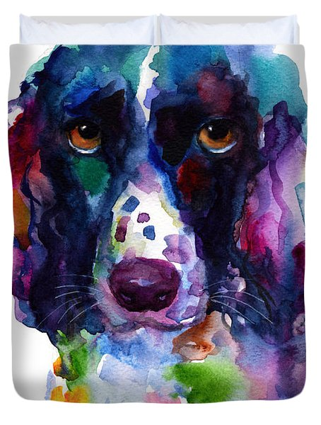 Colorful English Springer Setter Spaniel Dog Portrait Art Duvet Cover by Svetlana Novikova