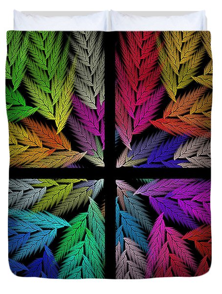 Colorful Feather Fern - 4 X 4 - Abstract - Fractal Art - Square Duvet Cover by Andee Design