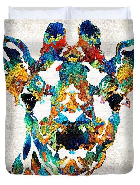Colorful Giraffe Art - Curious - By Sharon Cummings Duvet Cover by Sharon Cummings