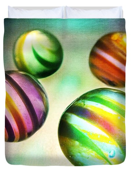 Colorful Glass Marbles Duvet Cover by Marianna Mills