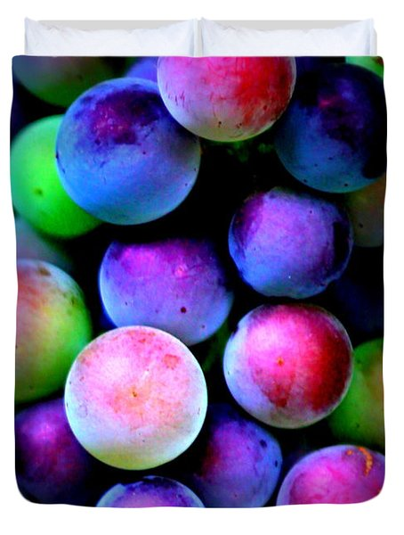 Colorful Grapes - Digital Art Duvet Cover by Carol Groenen