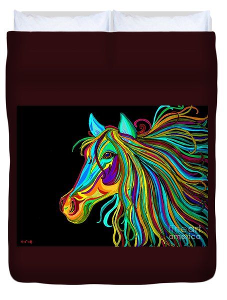 Colorful Horse Head 2 Duvet Cover by Nick Gustafson