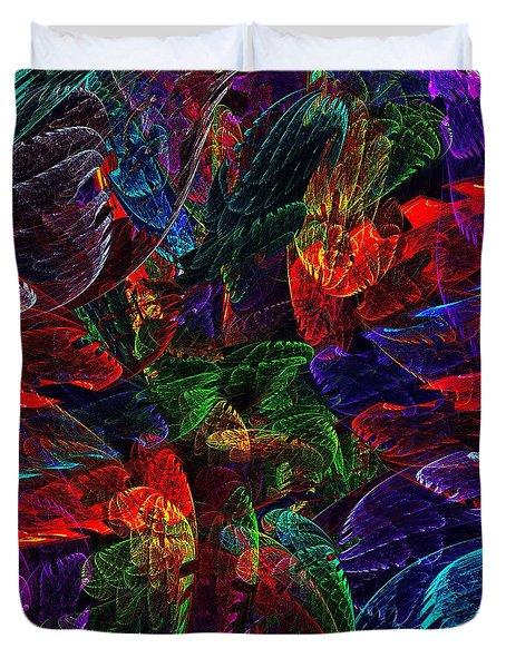 Colorful Leaves Duvet Cover by Klara Acel