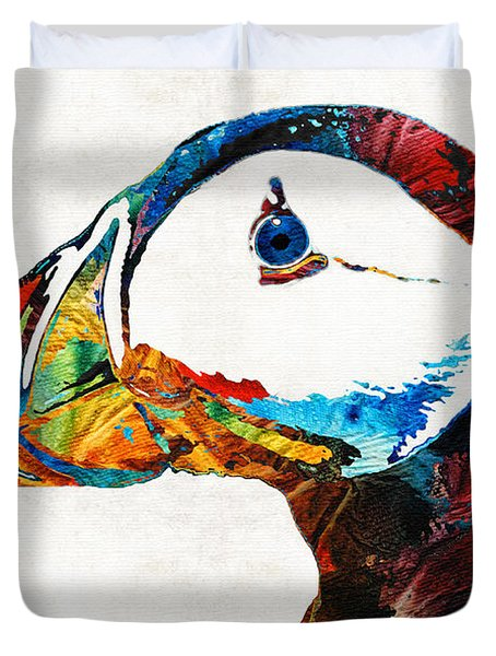 Colorful Puffin Art By Sharon Cummings Duvet Cover by Sharon Cummings
