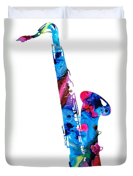 Colorful Saxophone 2 By Sharon Cummings Duvet Cover by Sharon Cummings