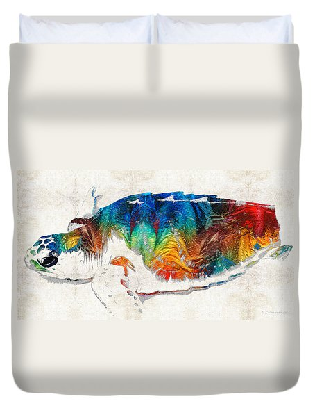Colorful Sea Turtle By Sharon Cummings Duvet Cover by Sharon Cummings