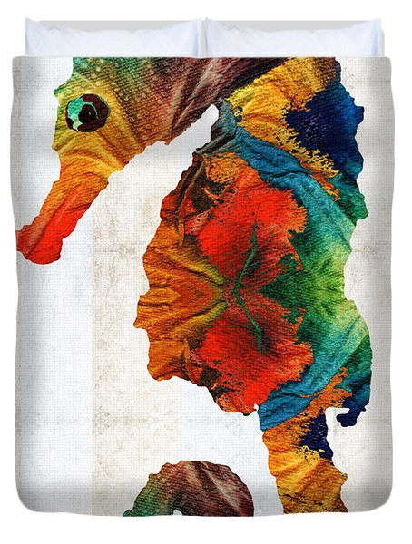 Colorful Seahorse Art By Sharon Cummings Duvet Cover by Sharon Cummings
