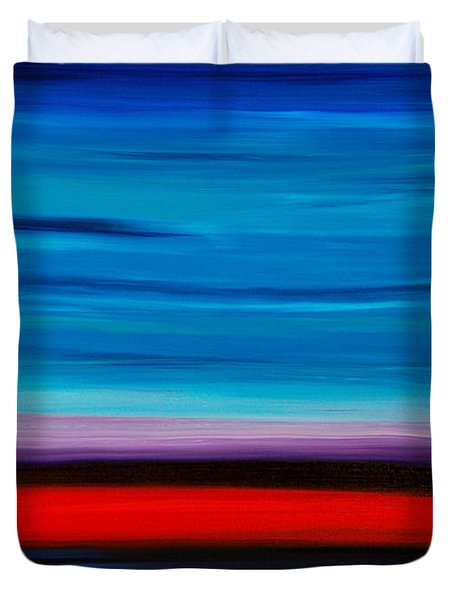 Colorful Shore - Blue And Red Abstract Painting Duvet Cover by Sharon Cummings