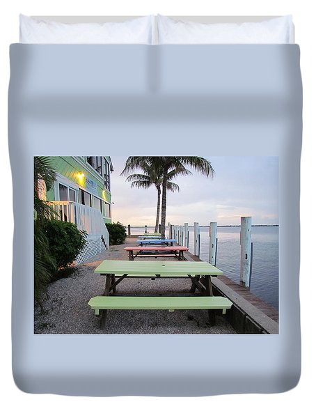 Colorful Tables Duvet Cover by Cynthia Guinn