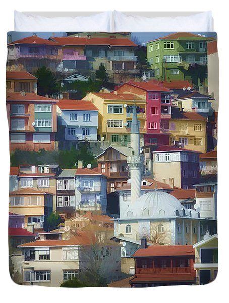 Colorful Town Duvet Cover by Joan Carroll