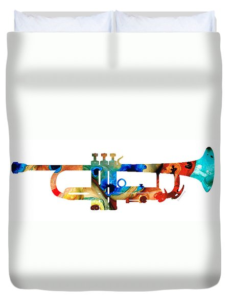 Colorful Trumpet Art By Sharon Cummings Duvet Cover by Sharon Cummings