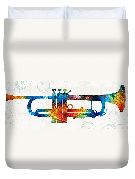 Colorful Trumpet Art Color Fusion By Sharon Cummings Duvet Cover by Sharon Cummings