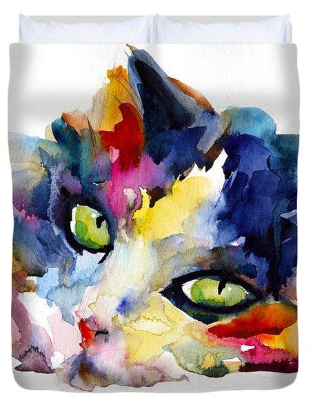 Colorful Tubby Cat Painting Duvet Cover by Svetlana Novikova