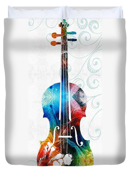 Colorful Violin Art By Sharon Cummings Duvet Cover by Sharon Cummings