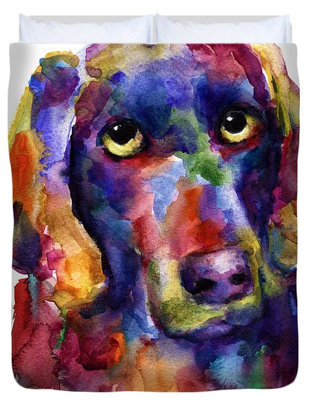 Colorful Weimaraner Dog Art Painted Portrait Painting Duvet Cover by Svetlana Novikova