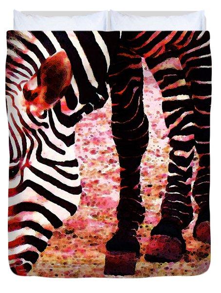 Colorful Zebra - Buy Black And White Stripes Art Duvet Cover by Sharon Cummings