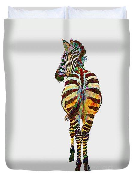 Colorful Zebra Duvet Cover by Teresa Zieba