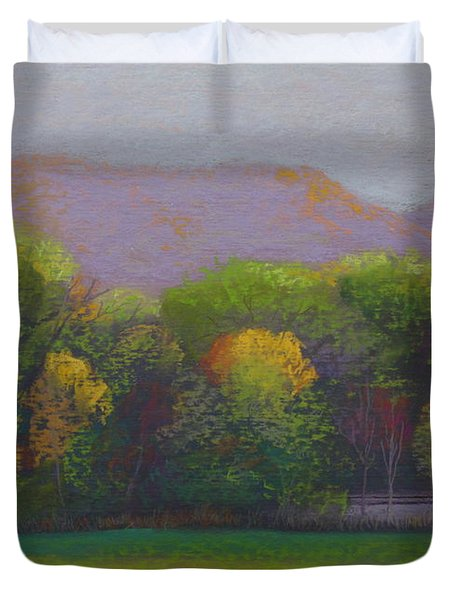 Colors By The Tracks Duvet Cover by Sherri Anderson
