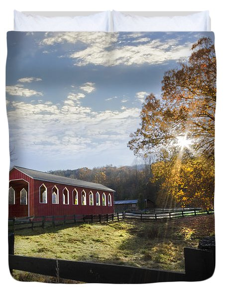 Colors Of Autumn Duvet Cover by Debra and Dave Vanderlaan