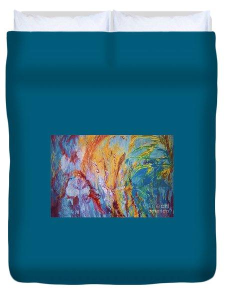 Colourful Abstract Duvet Cover by Ann Fellows