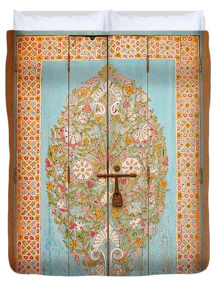 Colourful Moroccan Entrance Door Sale Rabat Morocco Duvet Cover by Ralph A  Ledergerber-Photography