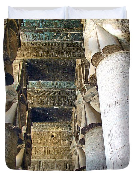 Columns in Temple of Hathor near Dendera in Qena-Egypt Duvet Cover by Ruth Hager